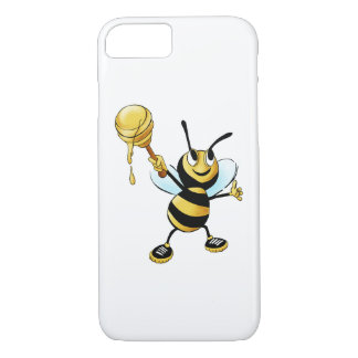 Smiling Cartoon Honey Bee Holding up Dipper iPhone 7 Case