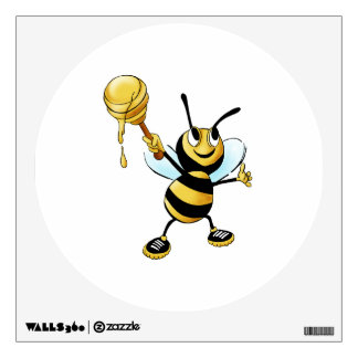 Smiling Cartoon Honey Bee Holding up Dipper Wall Decal