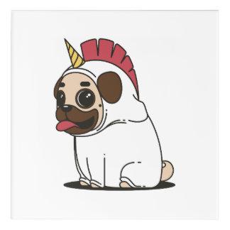 Smiling Cartoon Pug in a Unicorn Costume Acrylic Wall Art