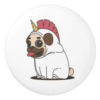 Smiling Cartoon Pug in a Unicorn Costume Ceramic Knob