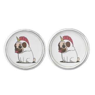 Smiling Cartoon Pug in a Unicorn Costume Cufflinks