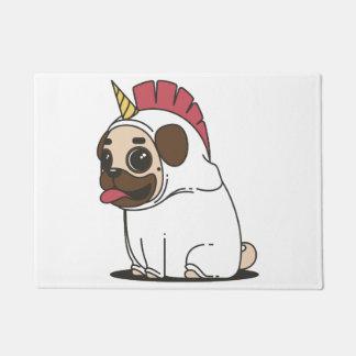 Smiling Cartoon Pug in a Unicorn Costume Doormat