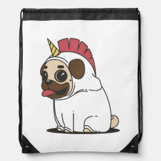 Smiling Cartoon Pug in a Unicorn Costume Drawstring Bag
