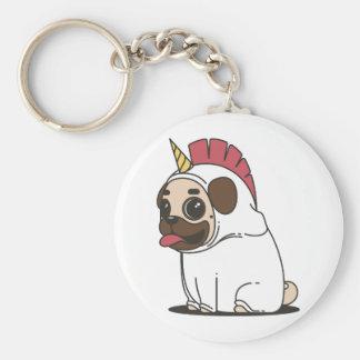 Smiling Cartoon Pug in a Unicorn Costume Keychain