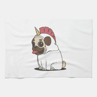 Smiling Cartoon Pug in a Unicorn Costume Kitchen Towel