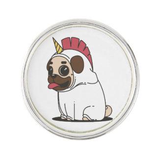 Smiling Cartoon Pug in a Unicorn Costume Lapel Pin