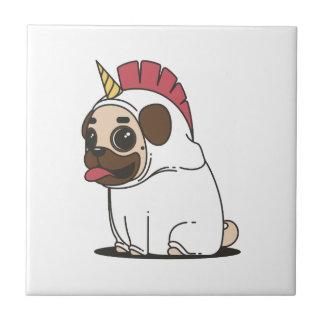 Smiling Cartoon Pug in a Unicorn Costume Tile