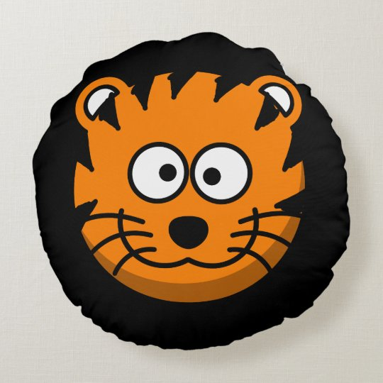 Smiling Cartoon Tiger Cat Round Pillow