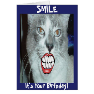 Smiling Cat Birthday Card