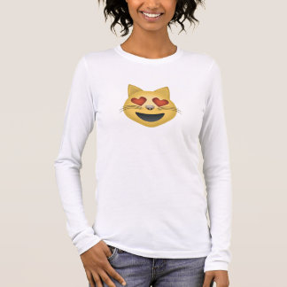 Smiling Cat Face With Heart Shaped Eyes Emoji Long Sleeve T-Shirt