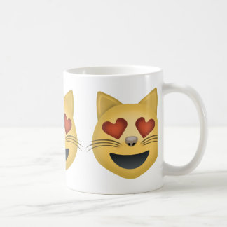 Smiling Cat Face With Heart Shaped Eyes Emoji Classic White Coffee Mug