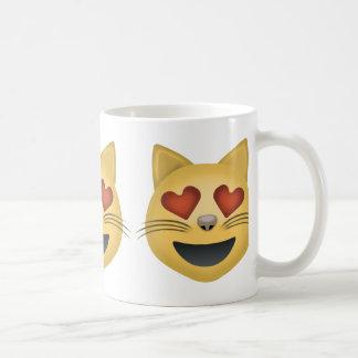 Smiling Cat Face With Heart Shaped Eyes Emoji Mug