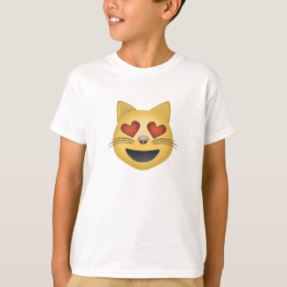 Smiling Cat Face With Heart Shaped Eyes Emoji T-Shirt