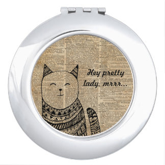 Smiling Cat Pen & Ink Zentagle Dictionary Art Compact Mirrors