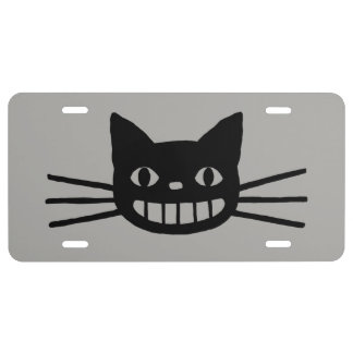 Smiling Cat with Long Whiskers License Plate