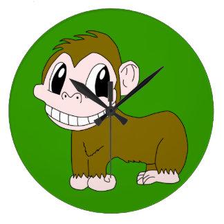 Smiling Chimpanzee Round Clock