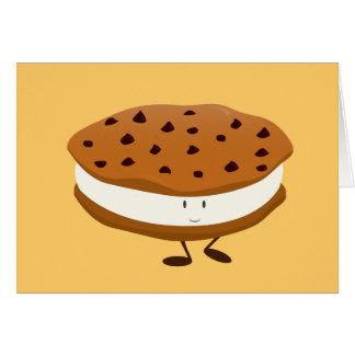 Smiling chocolate chip cookie sandwich card