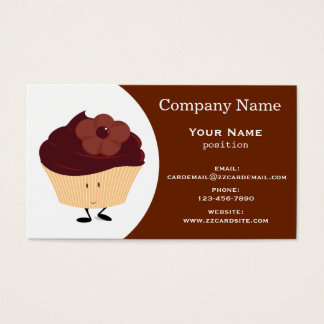 Smiling Chocolate-Frosted Cupcake with Flower Business Card