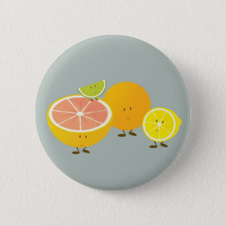 Smiling citrus group illustration 2 inch round button