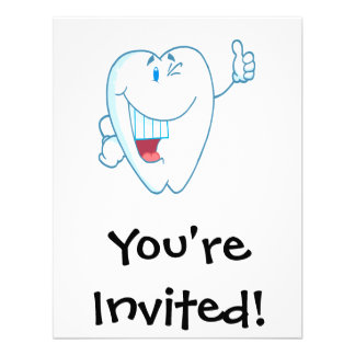 Smiling Clean Tooth Cartoon Character Thumbs Up ai Custom Invitation