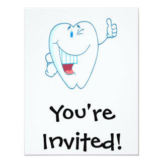 "Smiling Clean Tooth Cartoon Character Thumbs Up.ai 4.25"" X 5.5"" Invitation Card"