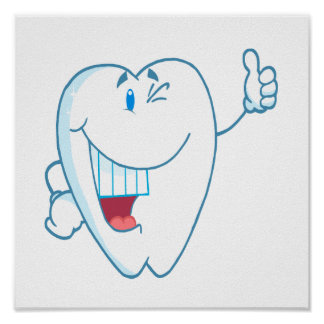 Smiling Clean Tooth Cartoon Character Thumbs Up.ai Poster