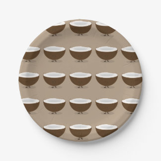 Smiling Coconut Paper Plate