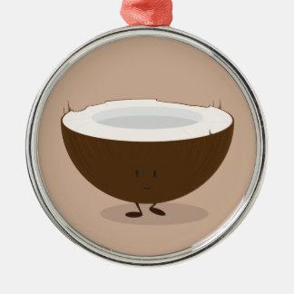 Smiling coconut Silver-Colored round ornament