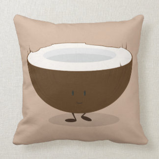 Smiling coconut throw pillow