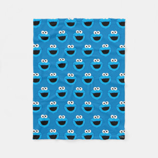 Smiling Cookie Monster Pattern Fleece Blanket