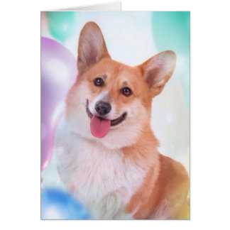 Smiling Corgi with Balloons Card