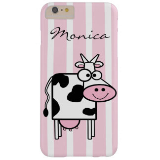 Smiling Cow Girly Animal Print Monogrammed Barely There iPhone 6 Plus Case