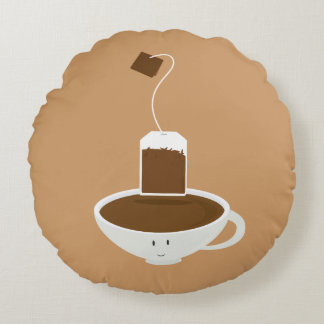 Smiling cup of black tea round pillow