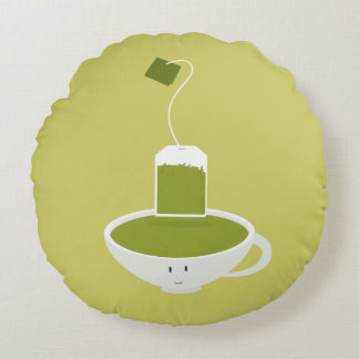 Smiling cup of green tea round pillow