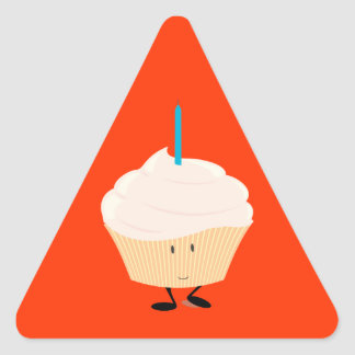 Smiling cupcake with a blue candle triangle stickers