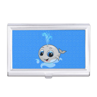Smiling cute funny baby whale business card holder