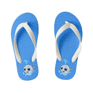 Smiling cute funny baby whale kid's flip flops