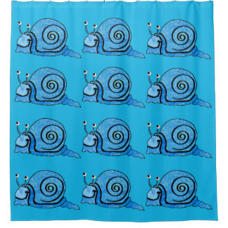 Smiling Cute Snails in Pretty Blues