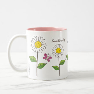 Smiling Daisies and Butterflies | Custom Gift Mug