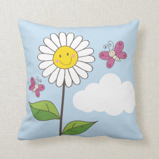 Smiling Daisy & Butterflies Throw Pillow