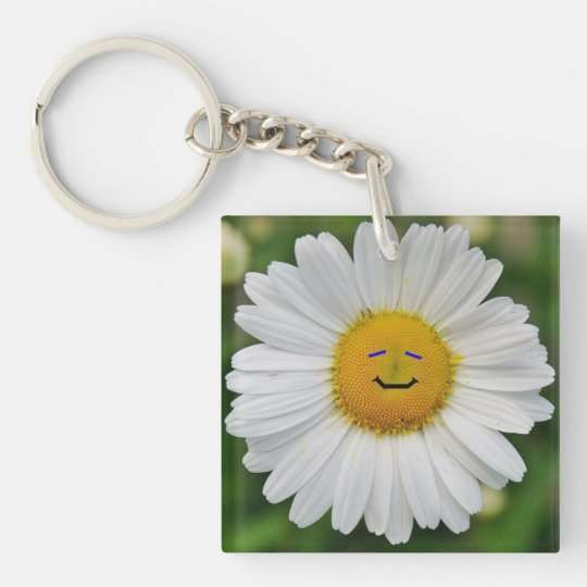 Smiling Daisy Double-Sided Square Acrylic Keychain