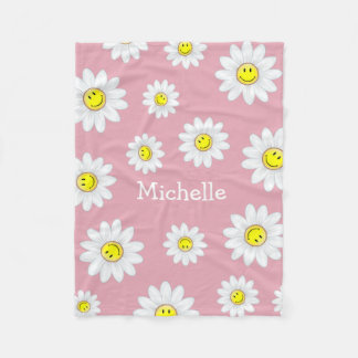 Smiling Daisy Flower Fleece Blanket