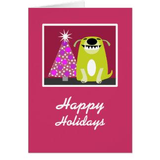 Smiling Dog & Christmas Tree Card