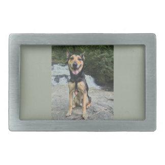 Smiling Dog on Rock Rectangular Belt Buckle