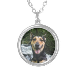 Smiling Dog on Rock Silver Plated Necklace