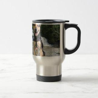Smiling Dog on Rock Travel Mug