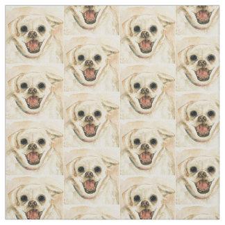 Smiling Dog Printed Fabric