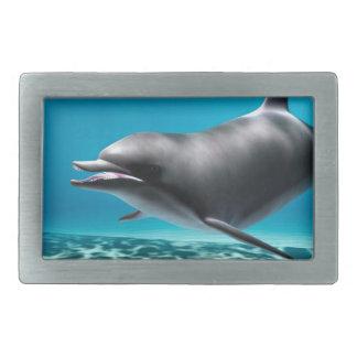 Smiling Dolphin Rectangular Belt Buckle