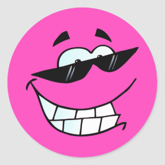 Smiling Face in Shades Classic Round Sticker