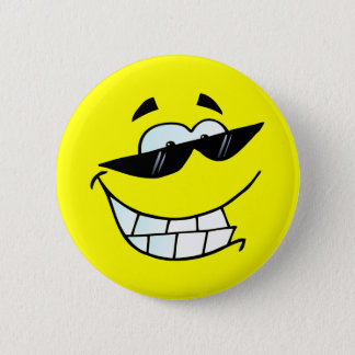 Smiling Face in Sun Glasses 2 Inch Round Button